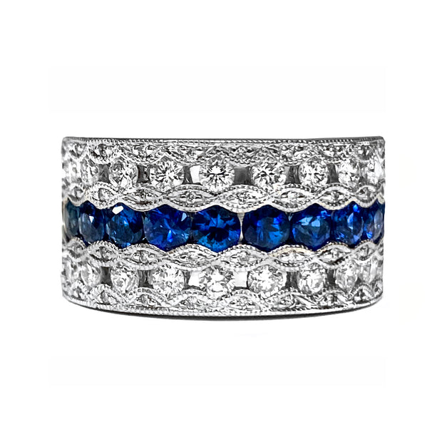 Sapphire & Diamond Wide Fashion Ring