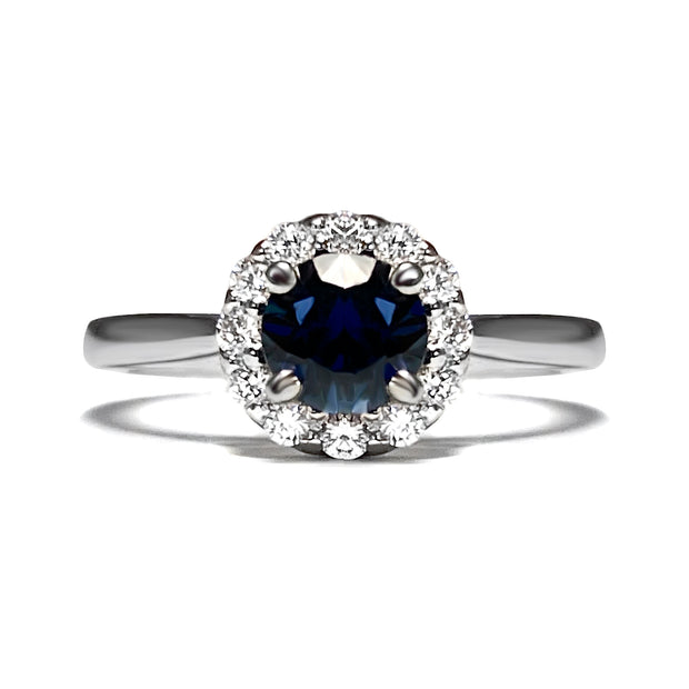 Sapphire & Diamond Halo 14kt White Gold Ring