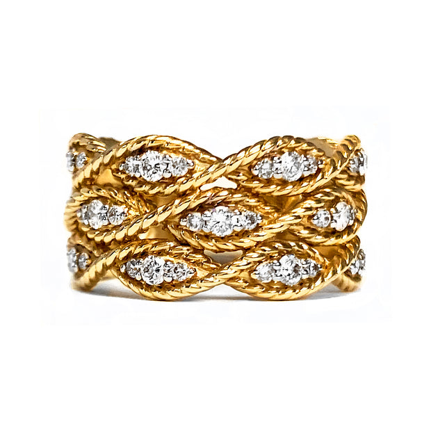 Wide Diamond Yellow Gold Ring
