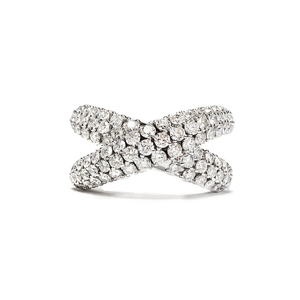 "Diamond Pave ""X"" Fashion Ring"