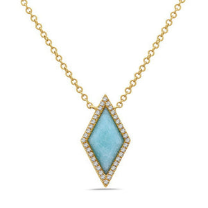 Turquoise & Diamond Yellow Gold Necklace