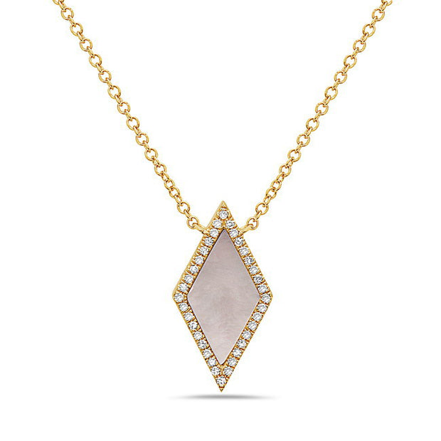 Mother of Pearl & Diamond Halo Yellow Gold Necklace