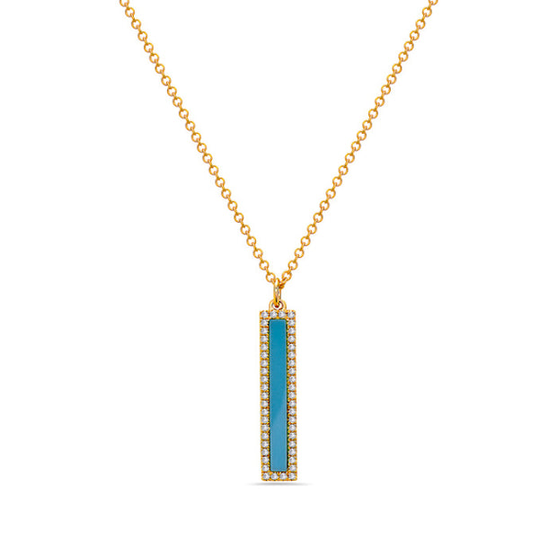 Turquoise & Diamond Bar Necklace