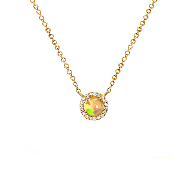 Opal & Diamond Yellow Gold Pendant