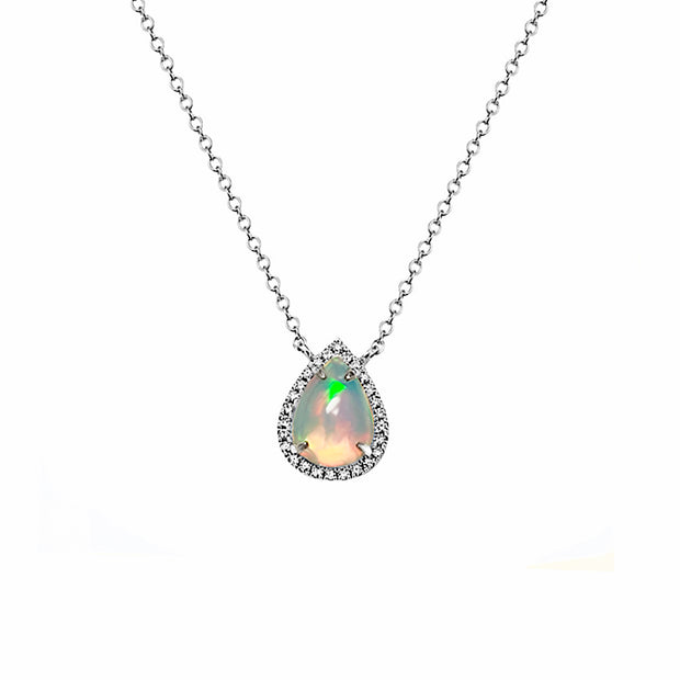 Opal & Diamond White Gold Pendant