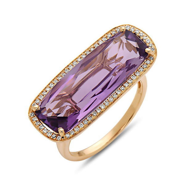 Gemstone & Diamond Yellow Gold Fashion Ring
