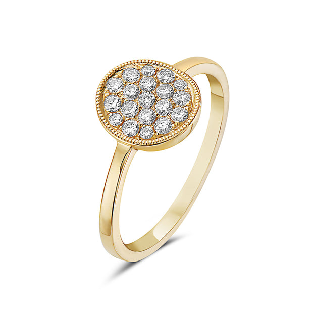 Diamond Cluster Yellow Gold Fashion Ring
