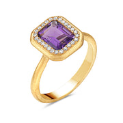 Amethyst & Diamond Halo Yellow Gold RIng