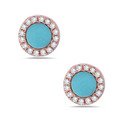 Turquoise & Diamond Halo Rose Gold Earrings
