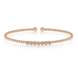 Diamond & Rose Gold Band Bracelet