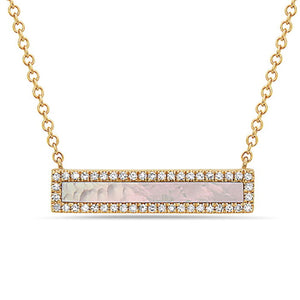 Mother of Pearl & Diamond 14kt Yellow Gold Neklace