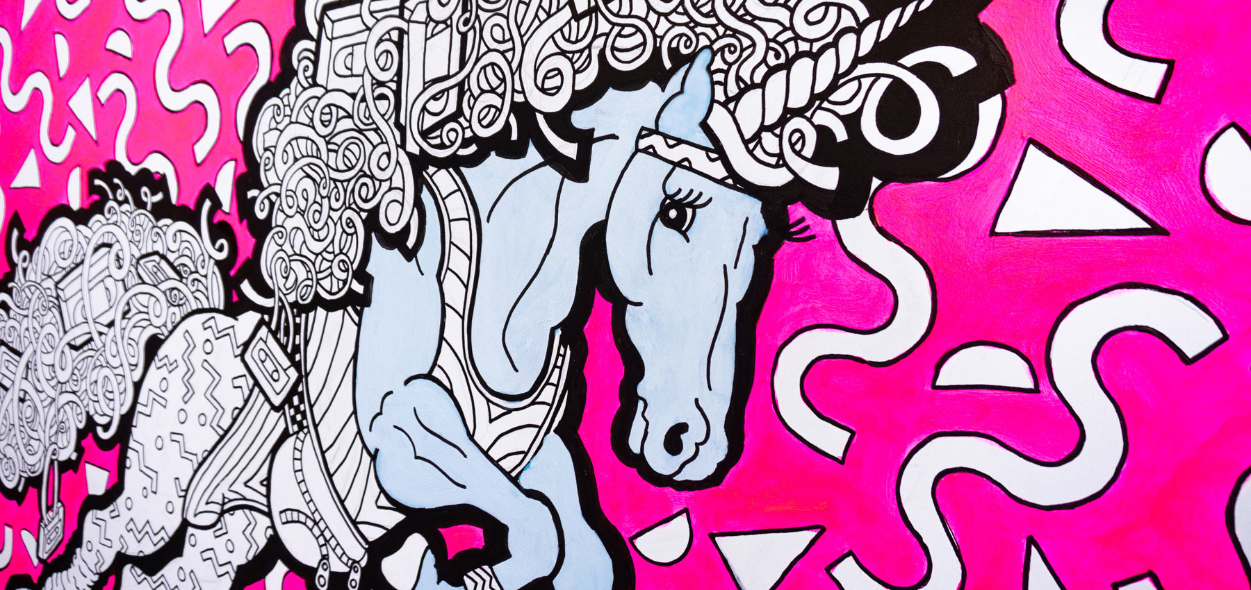 Fancy Features unicorn festival colouring wall