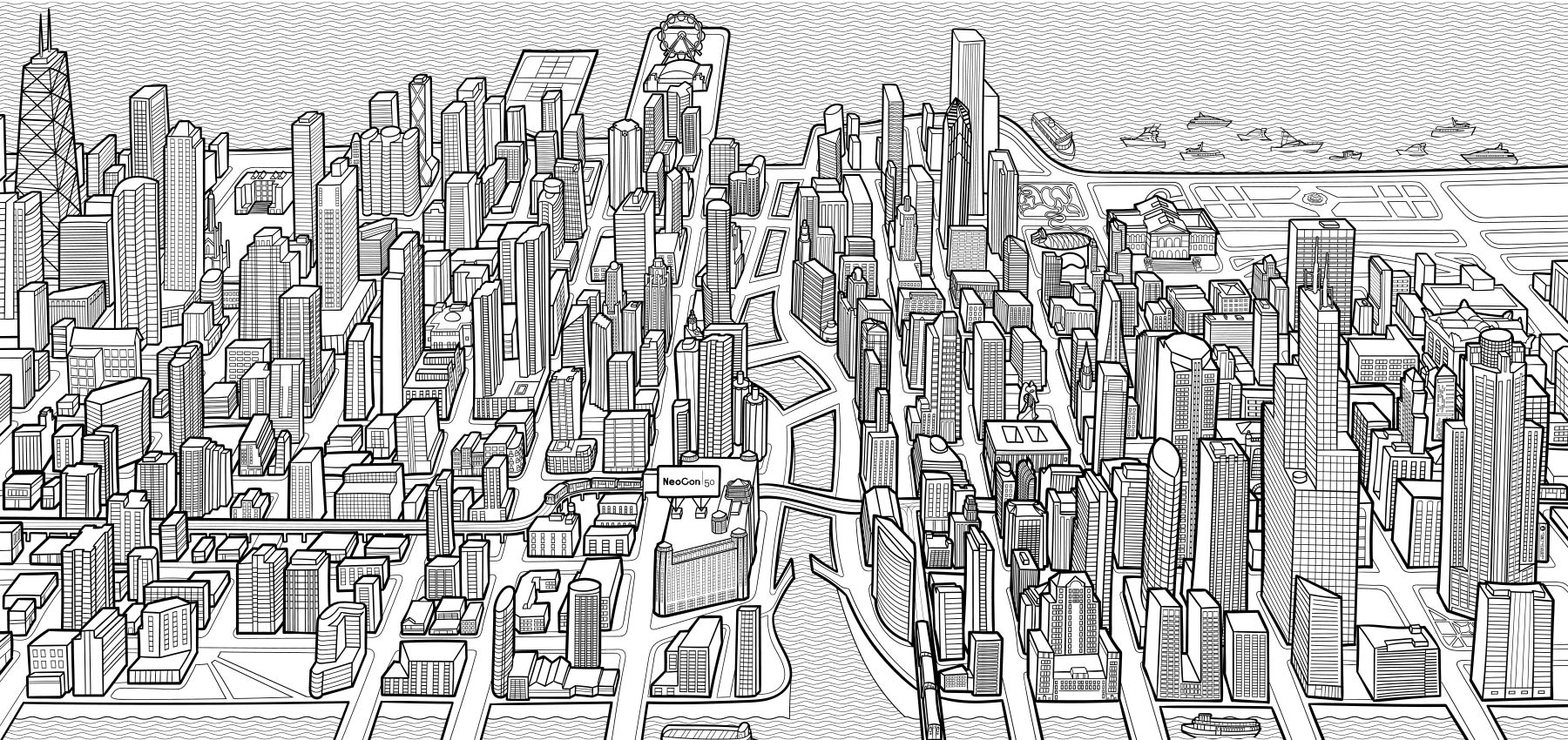 fancy features custom cityscape illustration chicago