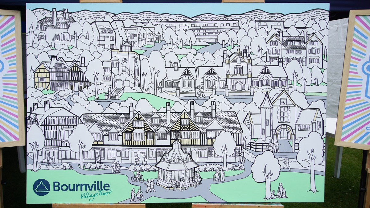 bournville colouring canvas art