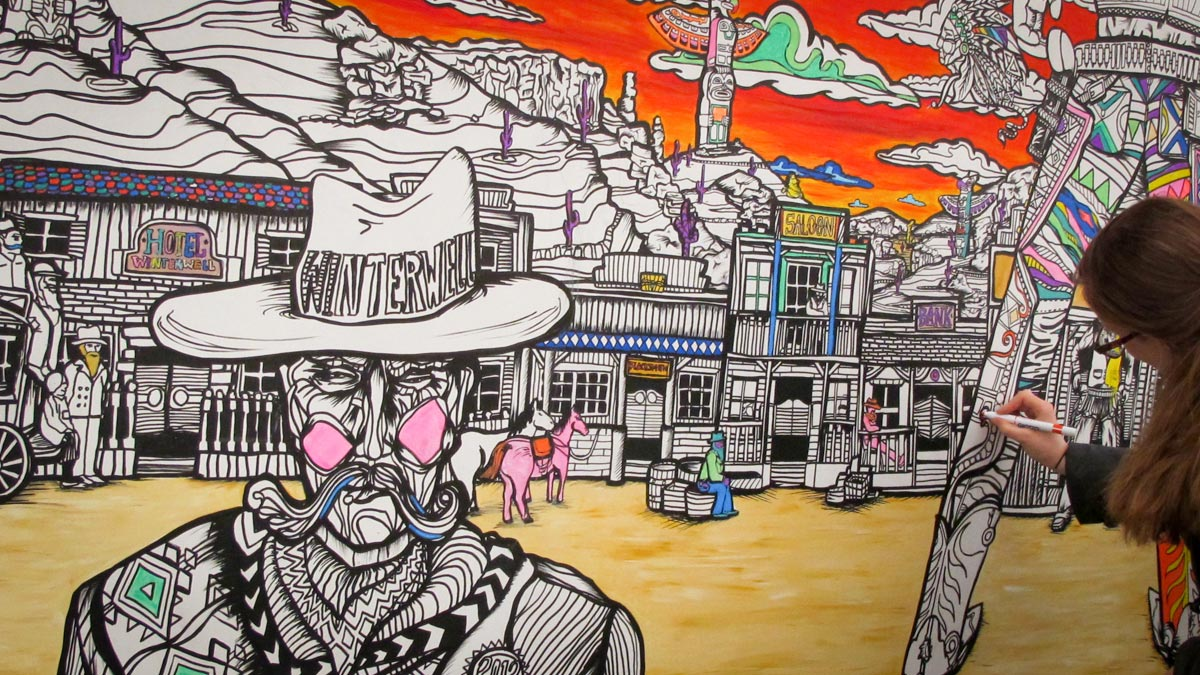 wild west coloring wall