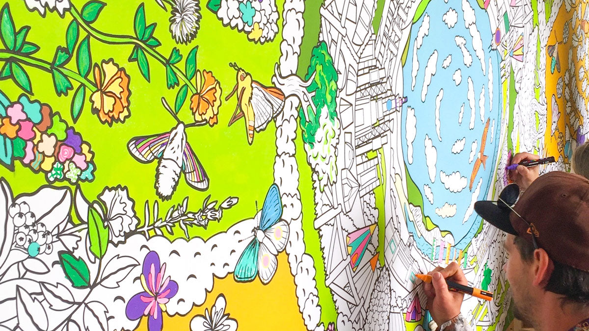 bespoke colouring wall at boomtown festival