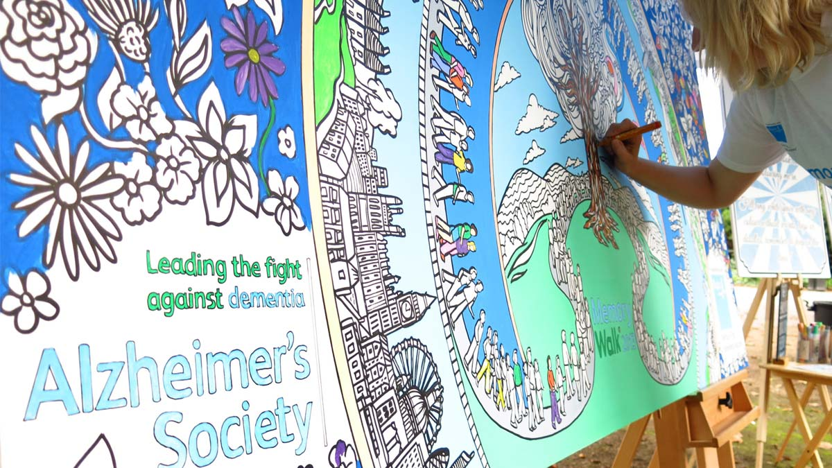 charity colouring wall