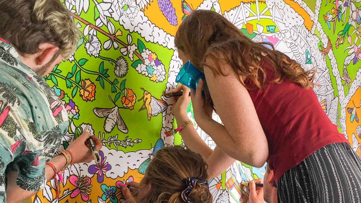 festival colouring wall
