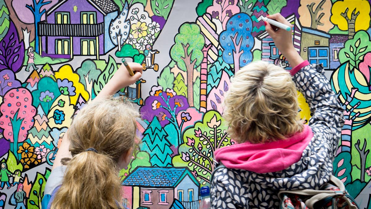 giant colouring wall