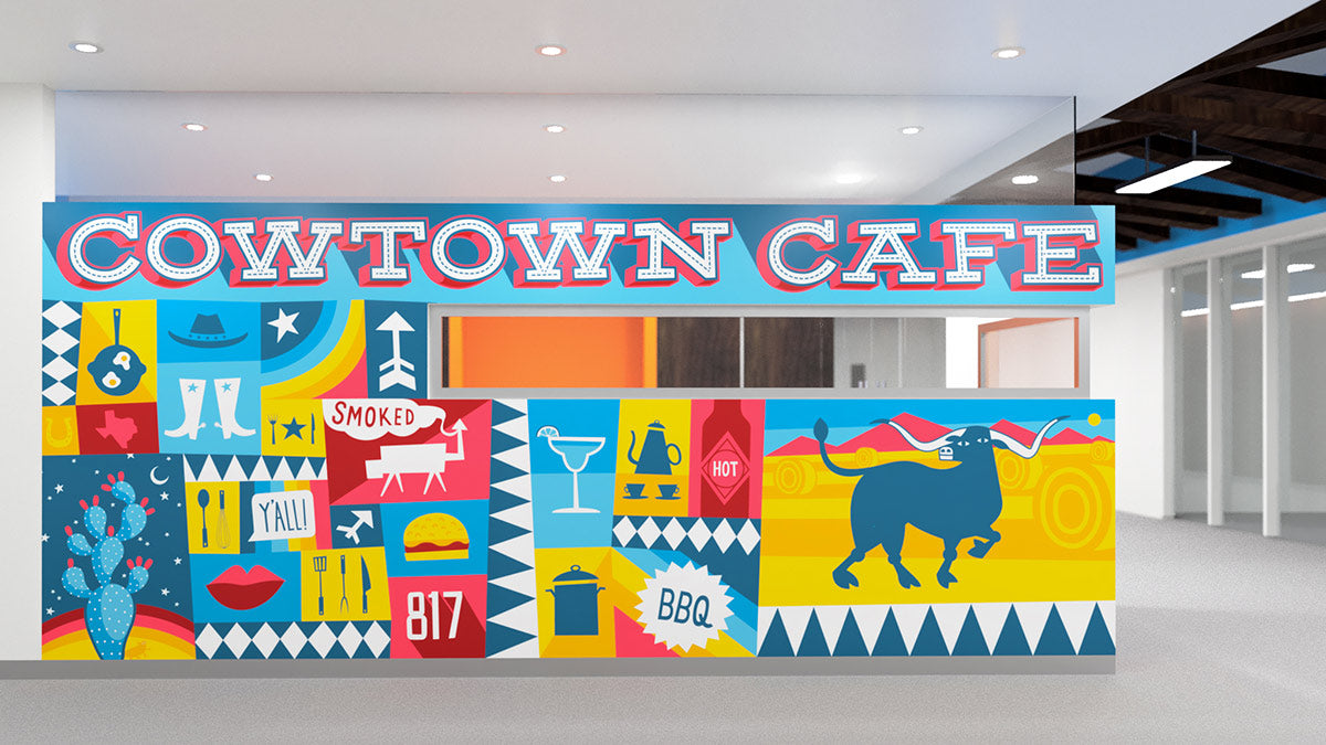 custom mural illustrated for facebook office