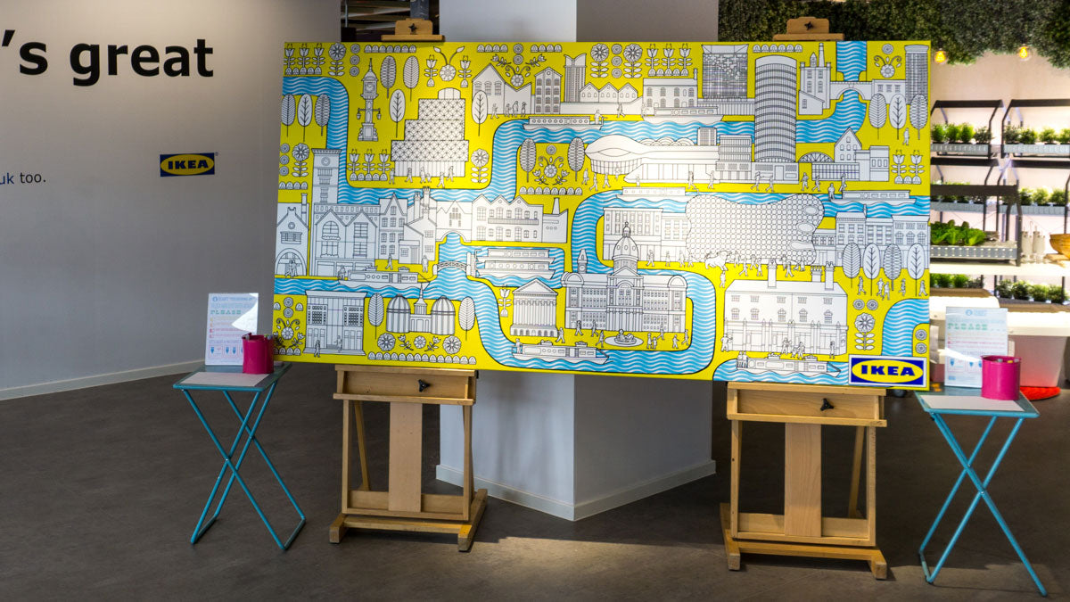 Ikea colouring wall mural