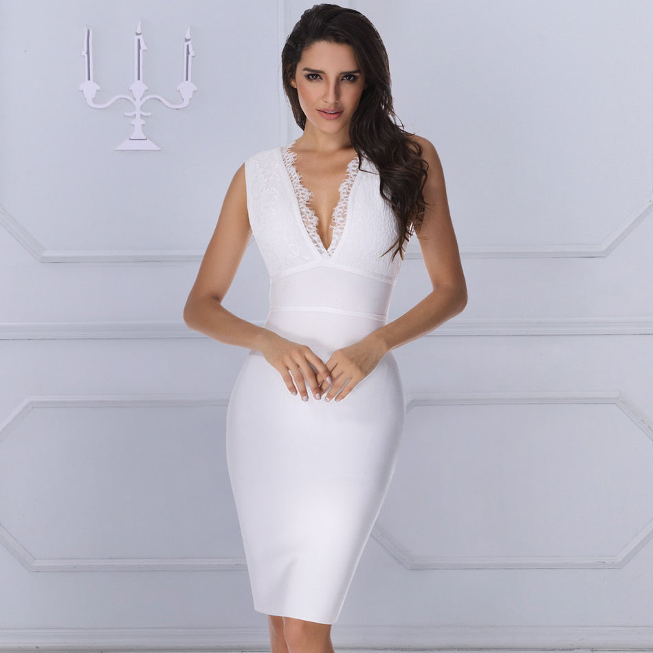 White V Neck Bandage Dress