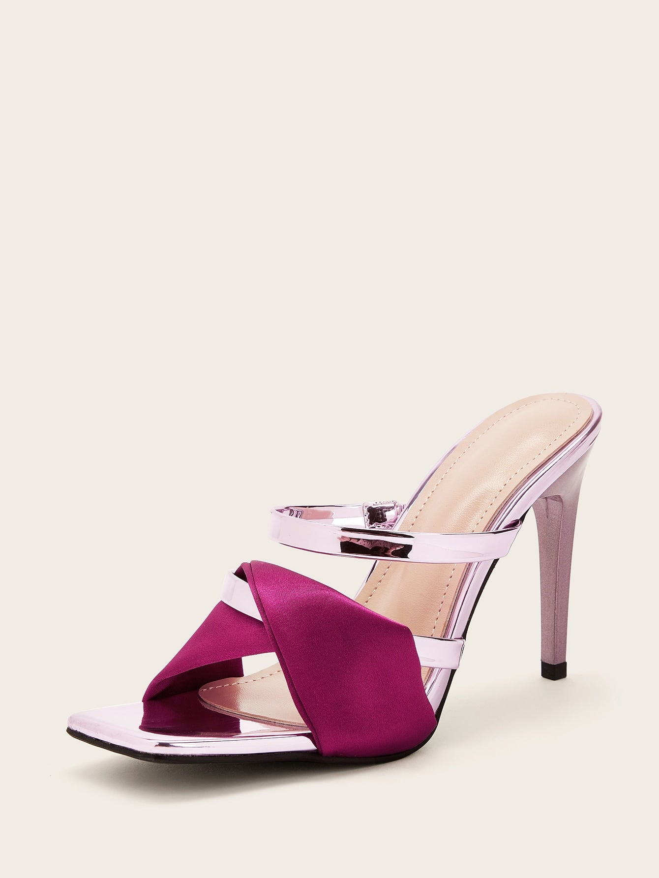 Pink Twist Strappy Stiletto Heeled Mules