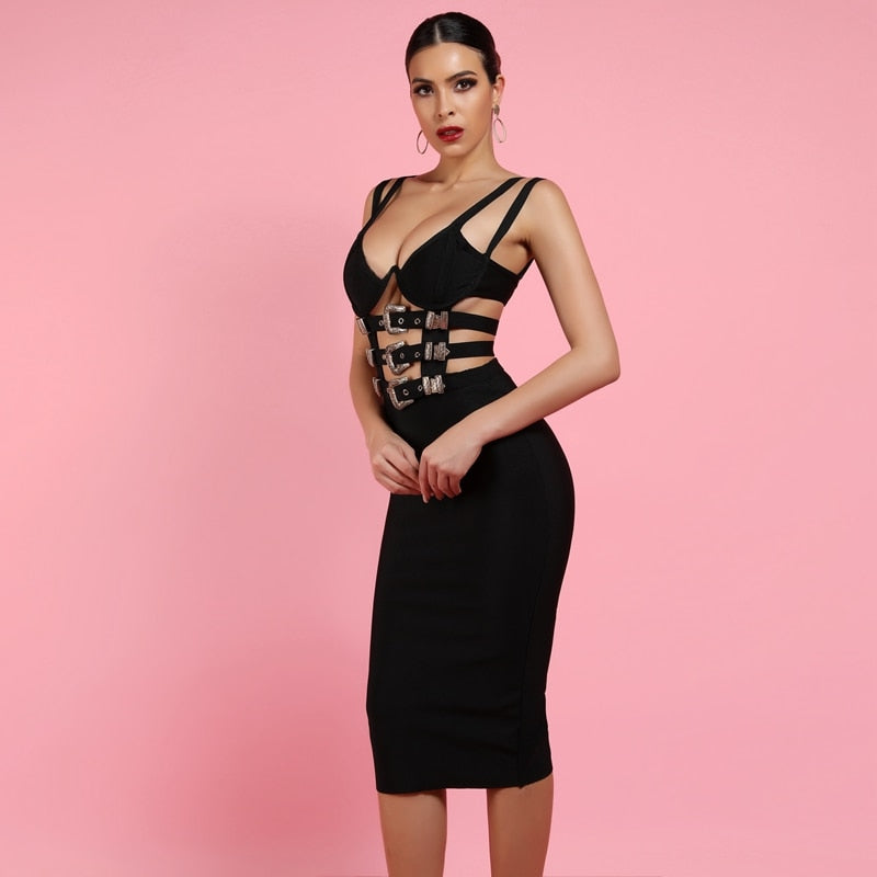 Black Gold Buckle Bandage Bodycon Dress
