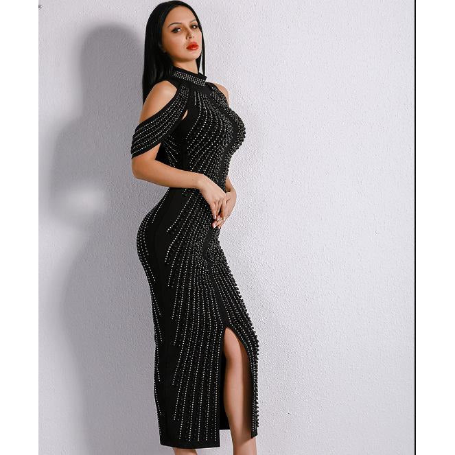 Black Long Beaded Turtleneck Bandage Dress