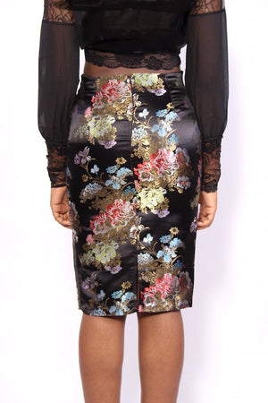 Satin Black Floral Pencil Skirt