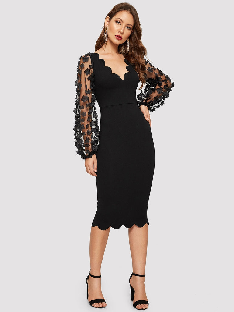 Black Mesh Sleeve Scallop Edge Dress