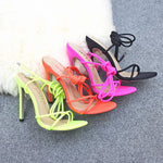 Neon Lace Up Heels