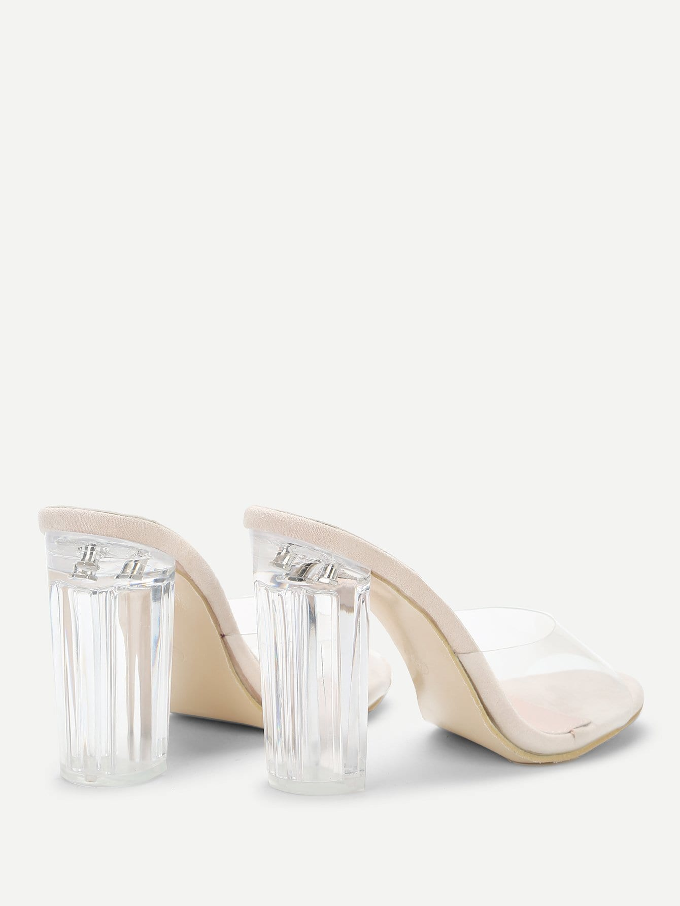 Clear Perspex Block Heeled Mules