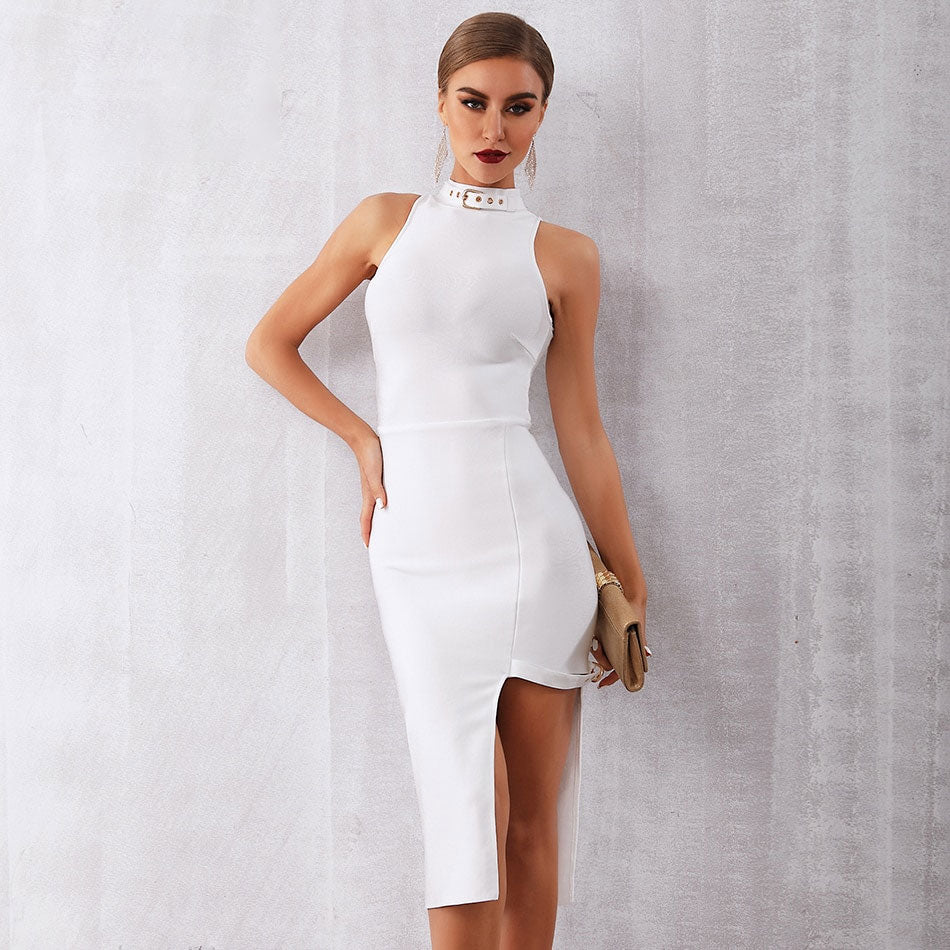 white High Neck Midi Dress