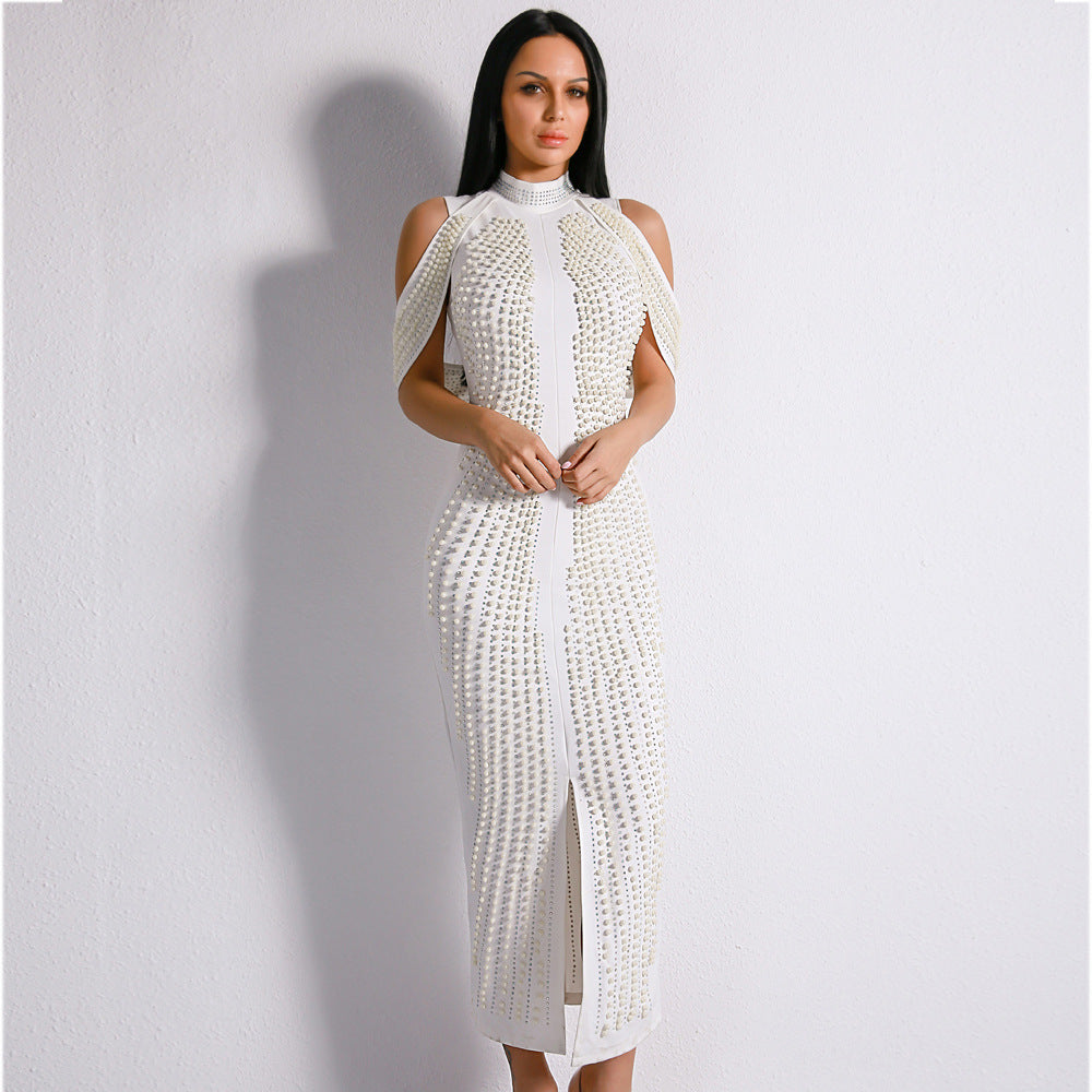 Long Beaded Turtleneck Bandage Dress