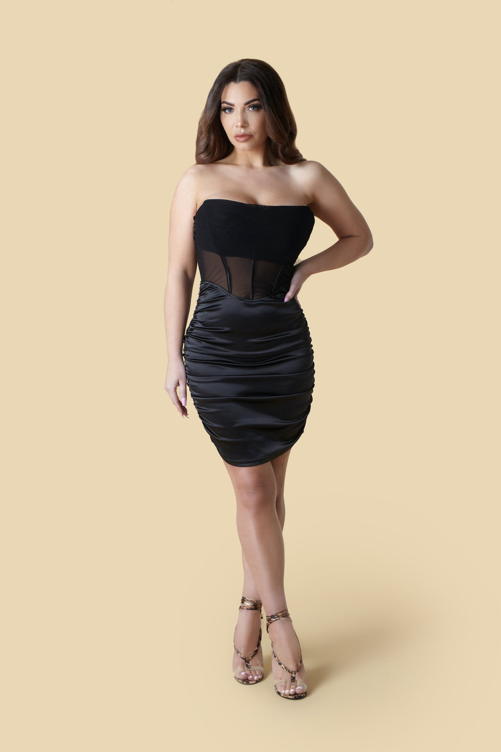 Black Mesh Strapless Corset Satin Bodycon Dress