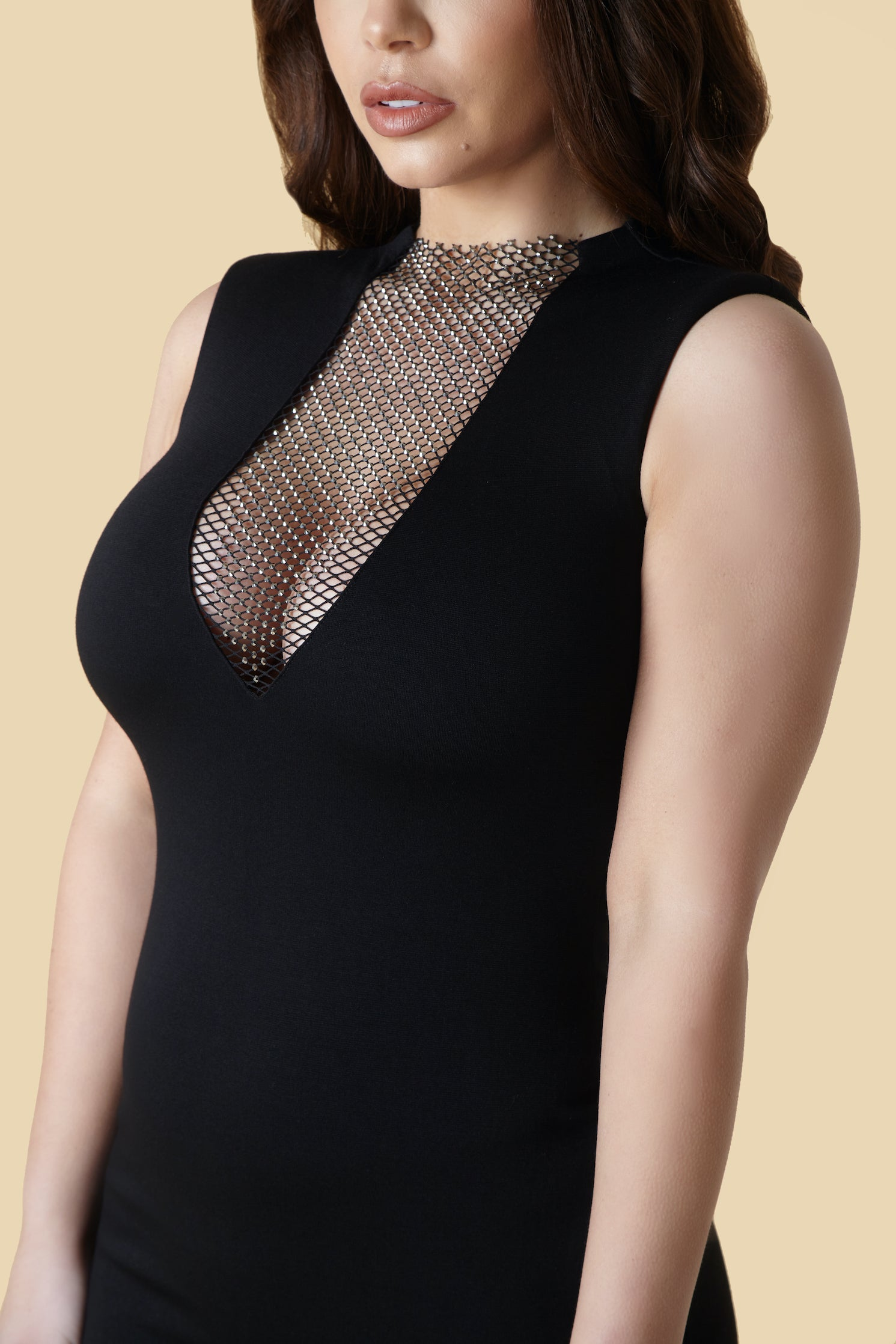 Black V Neck Rhinestone Mesh Mini Dress