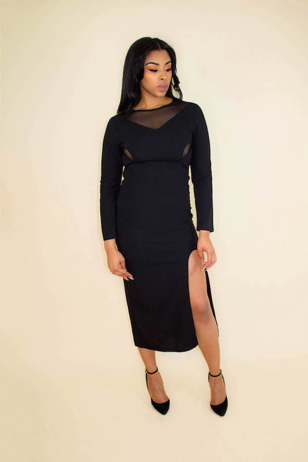 Black High Slit Mesh Long Sleeve Dress