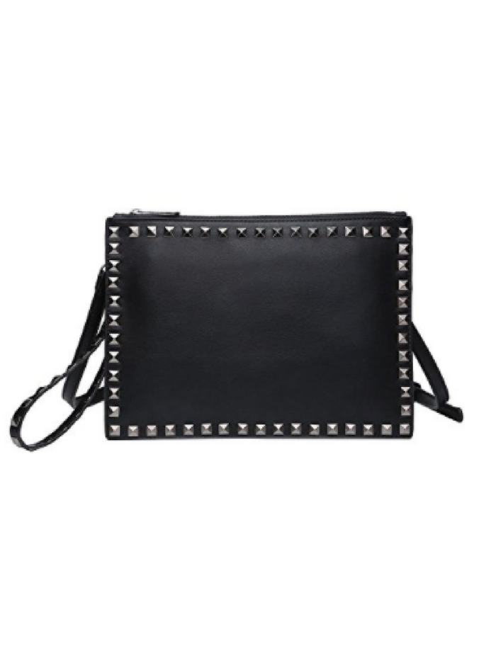 Large Black Studded Leather Clutch Handbag