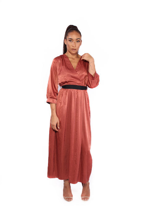 Satin Orange Tie Waist Long Sleeve Maxi Dress
