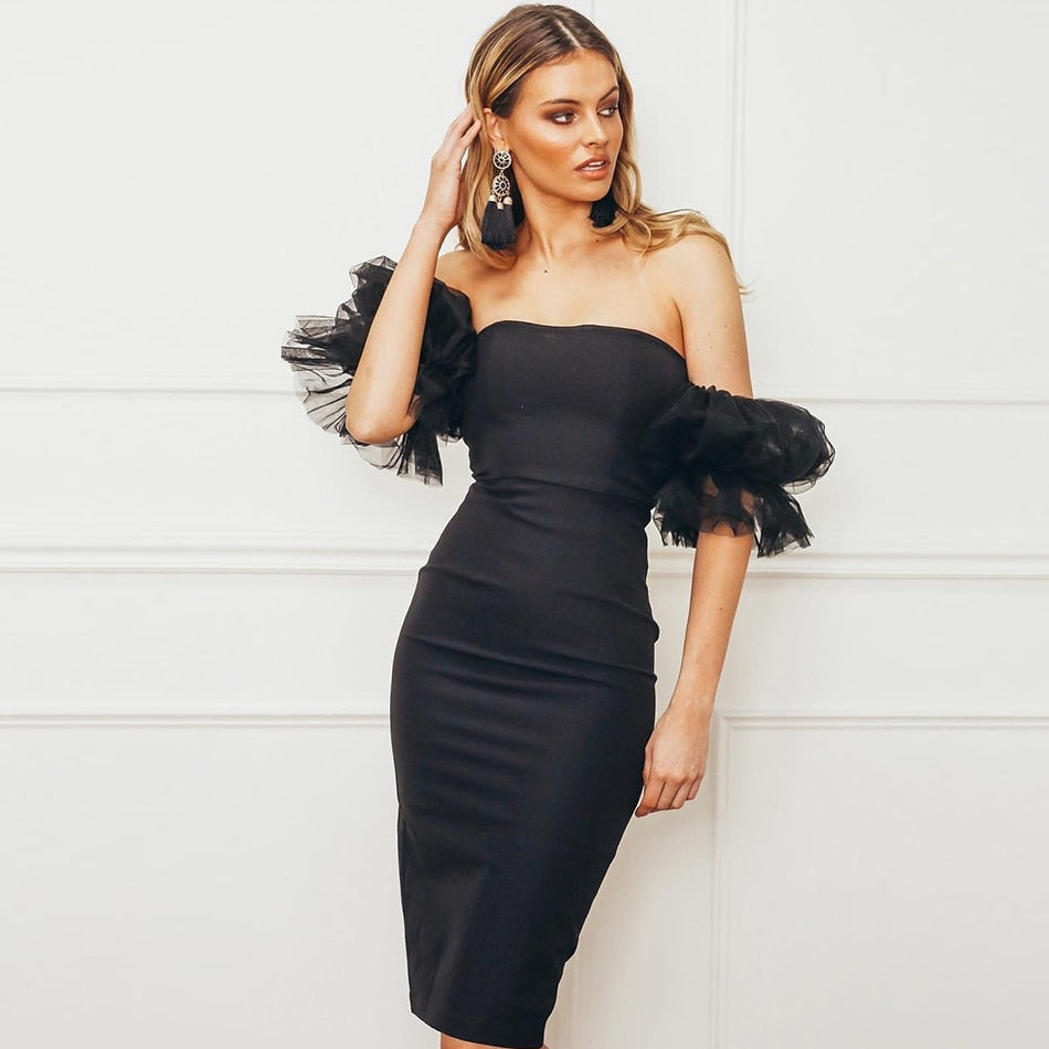 Black Bandage Off Shoulder Puff Sleeve Midi Dress