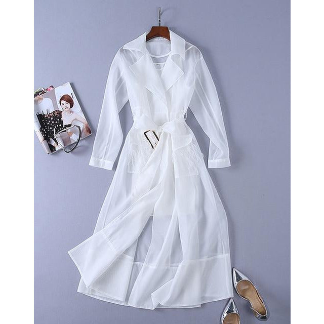 Long Sleeve Feather Jacket Wrap Dress