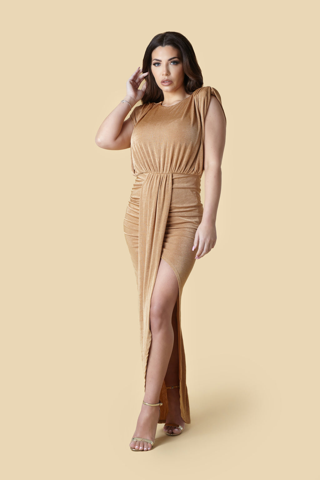 Camel Drape Shoulder Pad Thigh Split Maxi Dress