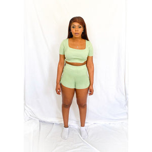 Green Crop Top Shorts Co Ord Set