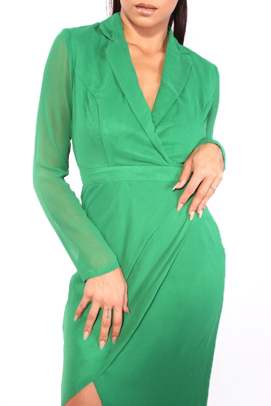 Green Wrap Front Shirt Evening Dress