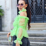 Green Sheer Bow Tie Top