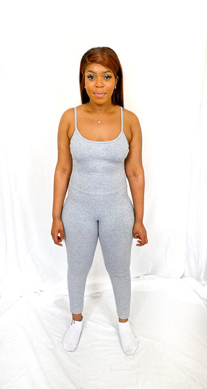 Grey Marl Backless Ribbed Strappy Jumpsuit