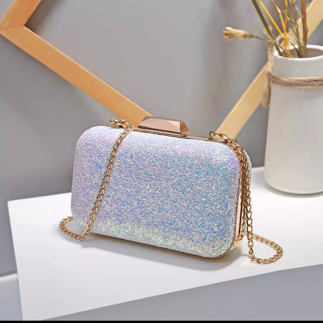 Sparkly Embellished Hard Case Evening Clutch Bag