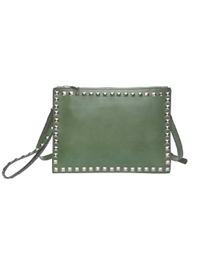 Large Khaki Studded Leather Clutch Handbag