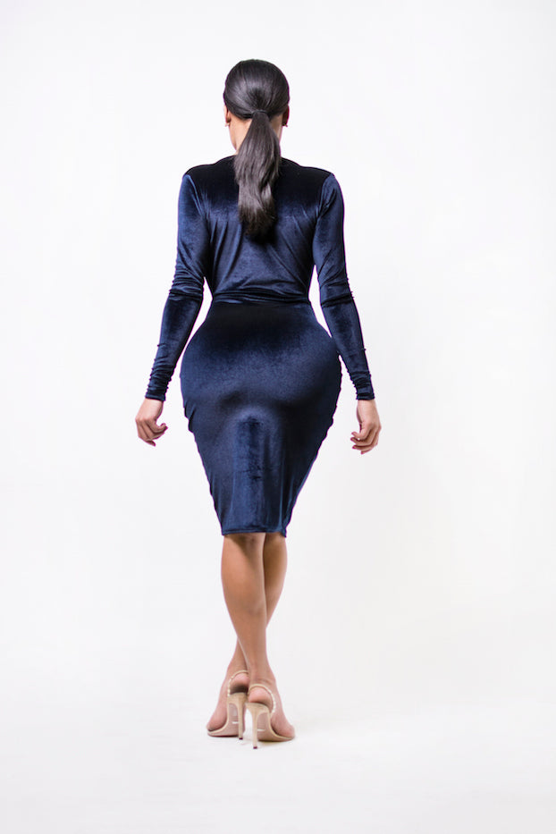 Navy Velvet Midi Dress (back)